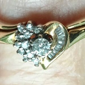 Jewelry - Diamond Heart 10k Gold Engagement Wedding Ring Set