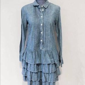 Jcrew ruffle hem chambray dress