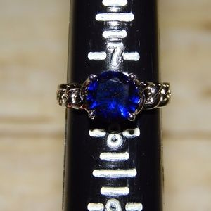 Jewelry - 3 For 12 Silver Ring with Blue Stone Size 7.5
