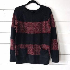 Gap Red Navy Marled Stripe Raglan Sweater
