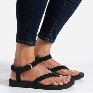 NIB Teva Black Suede Braided Sandals