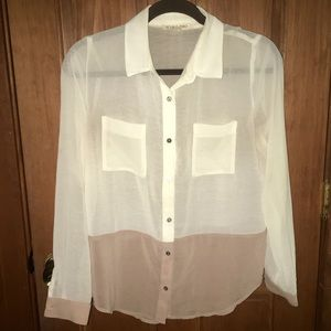 Boutique Sheer Color Block Utility Blouse