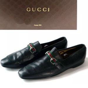 Gucci Men's Shoes Black Leather Loafers US 12.5