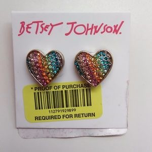 Betsey Johnson New Rainbow Heart Earrings