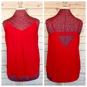 Red Silky Open Back Tank Top