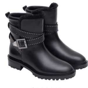 Black Biker leather boots