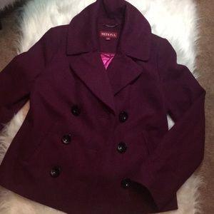 Trendy burgundy winter jacket