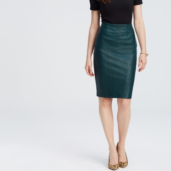 fashionable and attractive package online shop search for genuine NWT Ann Taylor Green Faux Leather Pencil Skirt NWT