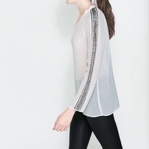Zara Tops - Zara diamanté beaded sleeve blouse office work Xs
