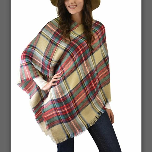 Sweaters   Last 1sale Neutral Plaid Poncho   Poshmark