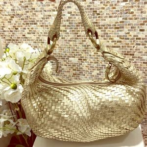 Cole Haan Genevieve Woven Gold Leather Hobo