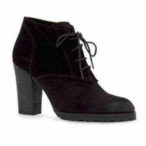 Black leather suede ankle boots non slippery Mango