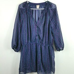 Navy Blue Sheer Floral Tunic Size XXL