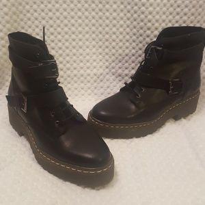 Ankle black combat boots