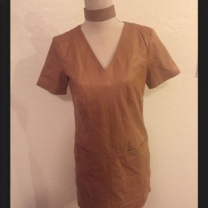 H&M Brown/Carmel Leather Dress size 8 NWT