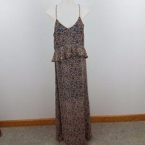 Zara maxi dress sheer peplum tassel