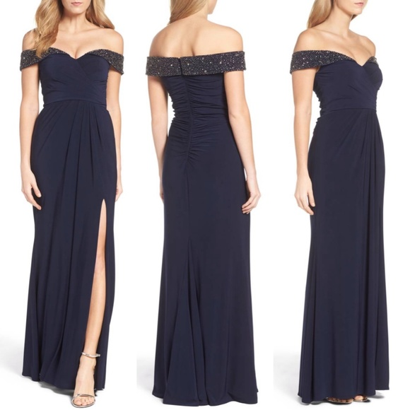 6ef6c719a68 Xscape Dresses | Off The Shoulder Beaded Gown | Poshmark