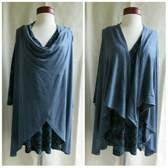 bd1a87f8c5 NWT Long Layering Combo Wrap   Tunic Duster Vest