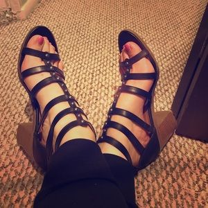 Black strapy wedges