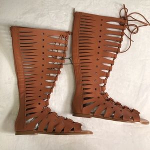b8ae0e69e60 torrid Shoes - Torrid Wide Width Cutout Lace Up Knee High Sandals
