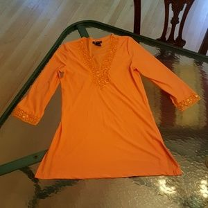 Tops - Orange Crystal Bead Tunic