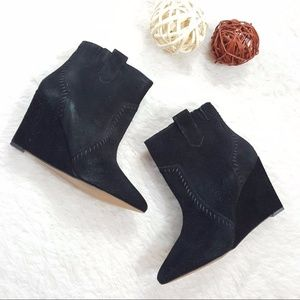 REBECCA MINKOFF Bianca Black Suede Wedge Booties
