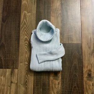 Pastel Blue Ribbed Turtle Neck Sweater