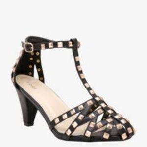 TORRID Pyramid Studded T-strap Kitten Heels