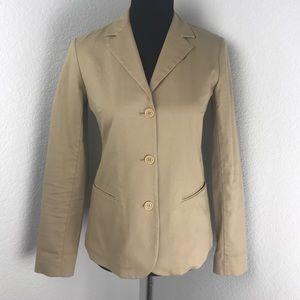 Theory Khaki Career Three Button Blazer Jacket