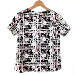 Asos Poppy Lux Rosella Floral Check Top Size 4 X1
