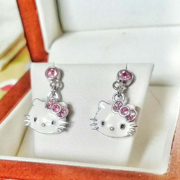cfbec47a6 Swarovski Jewelry | Nwot 925 Crystal Hello Kitty Earrings | Poshmark