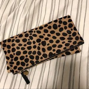 Clare Vivier Leopard Oversized Clutch