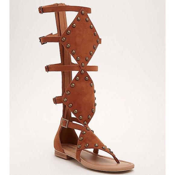 14df4a06d2f4 Torrid Wide Studded Knee High Gladiator Sandals
