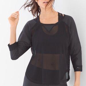 X by Gottex black raglan mesh active sports top