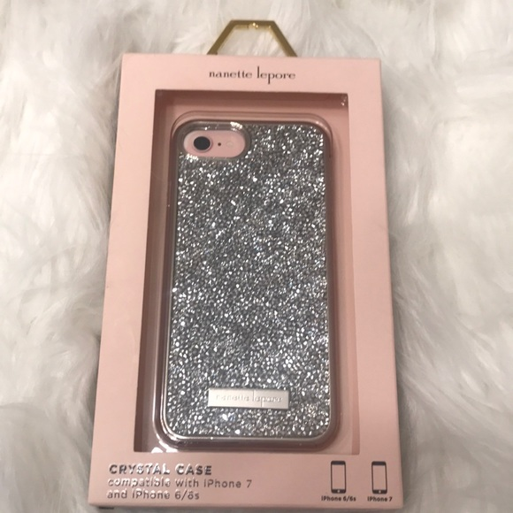 outlet store 74cef acb36 Nanette lepore silver crystal iPhone case NWT