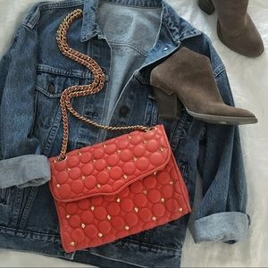 Coral Studded Rebecca Minkoff Quilted Affair Bag