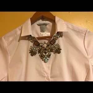 Light pink/ white lines button down top