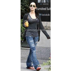 Name Brand Dark Denim Distressed Boho Jeans Pants