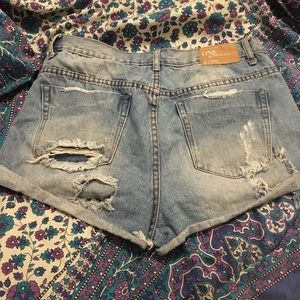 One Teaspoon Distressed High Waist Shorts