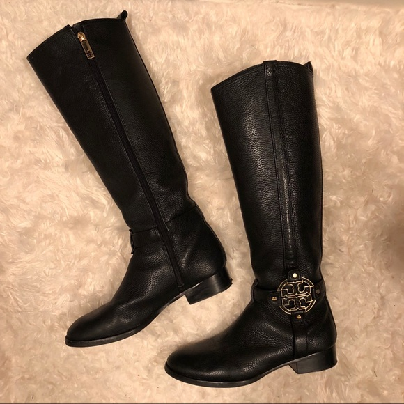 3dc2a0121 Tory Burch Black Leather Amanda Riding boots. M 5a0d472d78b31c87ee028306
