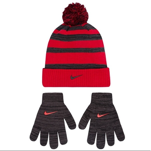 3cdffd5d8 Nike Heather Stripe Knit Beanie Hat and Gloves Set NWT