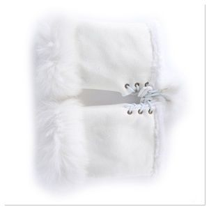 White Faux Suede Fingerless Gloves