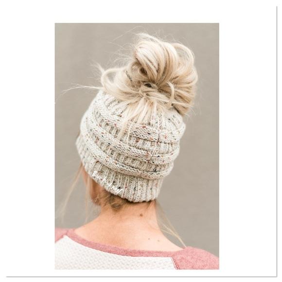 Boutique Accessories - Winter Knit Ponytail Beanie