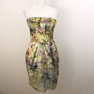 Anthro McGinn Cooling Magma Strapless Dress Green