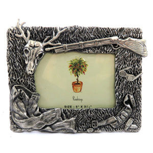 pewter picture frame hunting equipment PF61