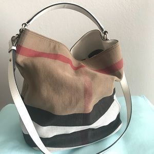 Burberry Medium Ashby in Canvas Check and Leather