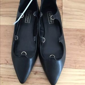Topshop Black Ballerina Faux Leather Flats US 6.5