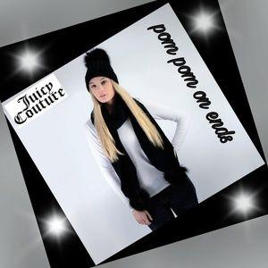 JUICY COUTURE Black w/silver sparkle pompoms scarf