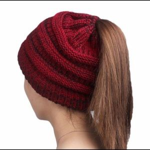 Winter Knit Ponytail Beanie