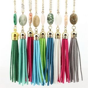 Jewelry - Green Stone & Fringe Tassel Statement Necklace